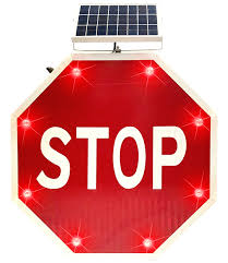 stop sign with led lights 24 inch solar powered led flashing blinking stop sign