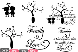 Love Happens Quotes by Family Svg Word Art Family Tree Quote Clip Art Silhouette Family