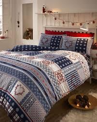 Bedding Sets Blue Nordic Fair Isle Scandinavian Winter Duvet Quilt Cover Bedding Set