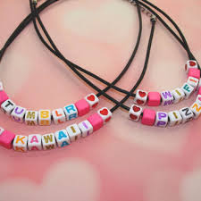 make your own name necklace pastel custom letter bead choker from vintageloseretsy on
