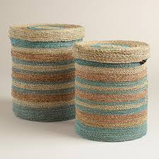 green and blue round sea grass sarah baskets with lid boho