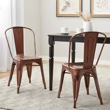 Copper Bistro Chair Carbon Loft Tabouret Brushed Copper Bistro Dining Chairs Set Of 2