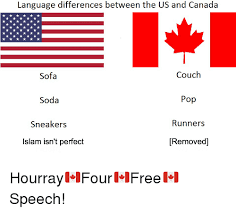 Language Differences Meme - language differences between the us and canada sofa couch soda pop