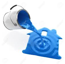 blue paint pouring from bucket in house silhouette 3d illustration