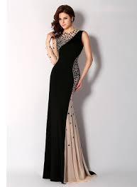 newest black high neck evening dresses long sleeve one shoulder