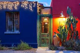 green door with great cactus and christmas lights tucson az