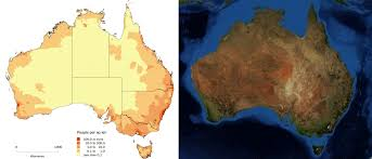 australia satellite map australia s population density compared to the vegetation