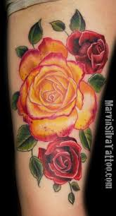 red rose and yellow tattoo tattoomagz
