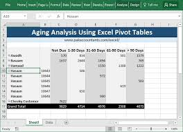 Excel Pivot Table Template Aging Analysis Reports Excel Pivot Tables How To