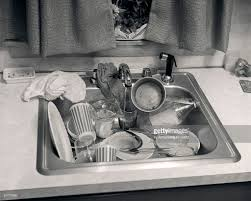 Kitchen Sink Full Dirty Unwashed Dishes Glasses Cups Messy Mess - Dirty kitchen sink