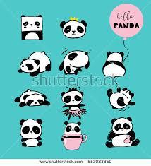 cute panda bear illustrations collection vector stock vector