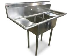 Kitchen 56 by Eq Compartment Sink Kitchen Commercial Stainless Steel Silver 56