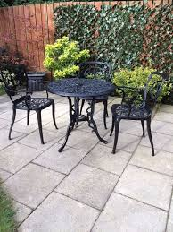 shabby chic patio decor cast aluminium black metal garden patio furniture table and chairs