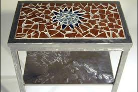 How To Make A Mosaic Table Top Junk Mail Gems Diy Marble Mosaic Table Top Tiled Table Set Tiles