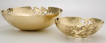 sitara collections sc1107 brass embossed fruit bowl set of two