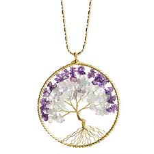purple stone necklace images Handmade natural stone eternal tree of life brass long necklace jpg