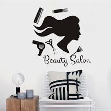 popular barber shop wall stickers buy cheap barber shop wall beauty salon long hair girl hairdressing tools silhouette art wall sticker vinyl self adhesive wallpaper barber