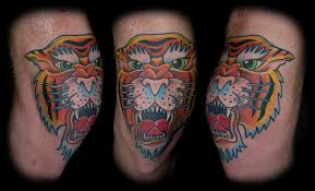 traditional tiger head knee cap tattoos photos pictures and