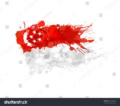 Singapur Flag Flag Singapore Made Colorful Splashes Stock Vektor 181962425