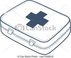 vector clip art of first aid kit isolated on white sketch