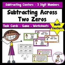subtracting across zeros box trick 3rd grade math pinterest