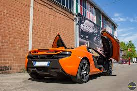 orange mclaren rear rent mclaren 650s spider in europe supercar hire