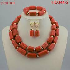 fashion beads necklace images 2018 fashionable african wedding jewelry set coral beads jewelry jpg