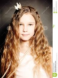 young fashion portrait cute face long curly hair stock