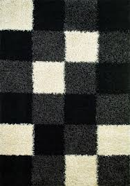 Black Modern Rugs 1523 Block Rug From Shaggy By Concord Global Plushrugs