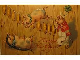 new year s postcards the new year lucky pig glucksschwein babylon baroque