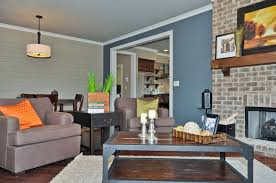 blue livingroom blue accent wall transitional living room birmingham by