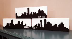 city skyline canvas painting atlanta boston chicago