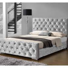Silver Velvet Headboard by 4ft6 Double Silver Crushed Velvet 4 Draw Divan Bed With Mattress