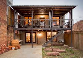 exterior design cool industrial deck with deck stairs and balcony