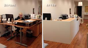 Front Reception Desk Designs Lobbybeforeandafter Ikea Desk And Facade Office Ideas