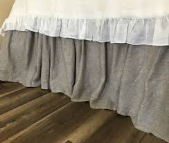 Linen Bed Chambray Graphite Grey Linen Bed Skirt With Gathered Ruffle