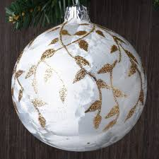 set of 6 delicate gold leaves european glass ornaments