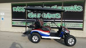 2012 electric ezgo red white and blue golf cart sold easy