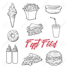 set fast food meal sketch hand drawn elements of fast food