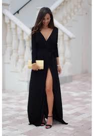 maxi dress with sleeves black maxi dress with sleeves and leg slit farrah