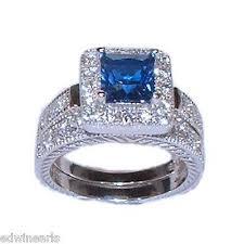 silver wedding ring sets women s halo sapphire blue cz sterling silver wedding ring set