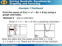 objectives solve quadratic equations by graphing or factoring