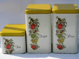 vintage canisters for kitchen cheinco vintage kitchen canisters retro spice of pattern