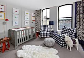 Bound Sisal Rug Gray And Navy Blue Boy U0027s Nursery Features A Navy Gingham Glider