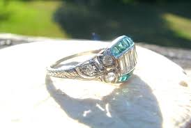 1930 u0027s art deco diamond and natural emerald ring transitional