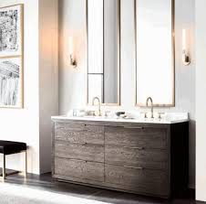 Mirror With Candle Sconces Wooden Floor Based Sink Cabinet White Porcelain Drop In Sink