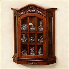 beauteous kitchen wall mounted curio cabinet featuring brown