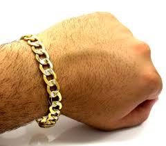 men gold tone bracelet images Yellow gold thick diamond cut two tone cuban bracelet 9 inch 11mm jpg