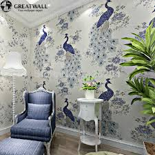 Chinese Style Home Decor Great Wall Southeast Asian Chinese Style Non Woven Peacock