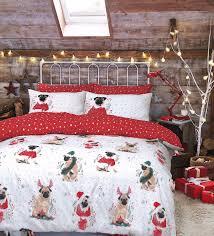 Christmas Duvet Covers Uk Double Pug Printed Christmas Duvet Set I Love Pugs